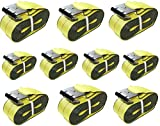 4'' x 30' DKG Cargo Winch Strap with Flat Hook Flatbed Truck Tie Down (10 Pack)