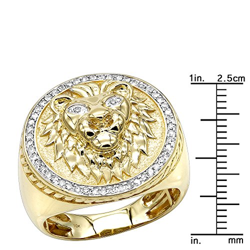 10K Solid Gold Lion Head Diamond Ring for Men Pinky Rings 0.3ctw (Yellow, Size 7.5)