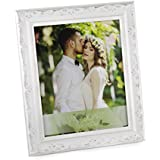 "WOODART White Distressed Ornate Wood Picture Frame Small Wedding Photo Frame 4""-Inches x 6""-Inches"