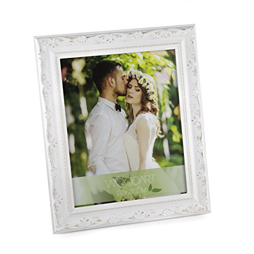 WoodArt Wooden Picture Frame (8x10, White W/Flowers)