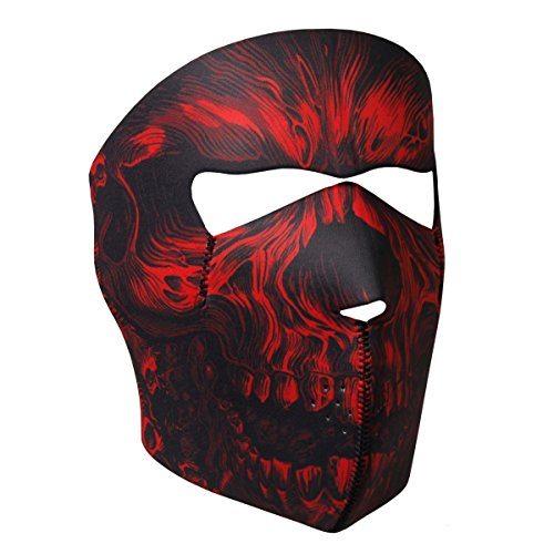 Neoprene Skull Biker Motorcycle Face Mask (Red Shredder Skull)