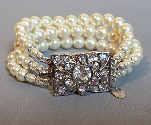 Bracelet 7mm Pink Pearl - Great Gatsby Pearl Bracelet with Vintage Art Deco Rhinestone clasp in 3 multi strands Cream Ivory Swarovski pearls or your choice of color. Wedding jewelry bridal bracelets by Alexi Blackwell Bridal