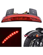 KaTur Red Chopped Fender Edge Motorcycle 8 LED RED Stop Running Brake Rear Tail Light for Harley Sportster XL 883N 1200N XL1200V XL1200X