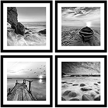 Englant 4 panels set framed canvas print for seascape beach and boat sunrise scenery black and white giclee canvas print wall art ready to hang