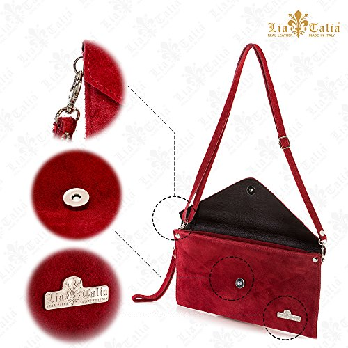 Bag LiaTalia Cotton Italian Suede Leather Leah Lining Evening Envelope Clutch Burgundy qYq1Ug