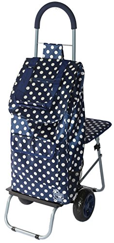 - dbest products Trolley Dolly with Seat, Blue Polka Dot Shopping Grocery Foldable Cart Tailgate