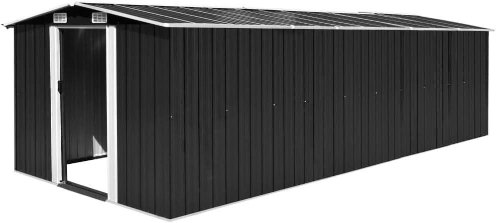 Tidyard Caseta Jardín Exterior de Acero Galvanizado con 4 Ventilaciones y 2 Puerta para Almacenar Amplia Variedad de Herramientas,Muebles de Jardín y Equipos de Jardinería,257x597x178cm Gris Antracita: Amazon.es: Hogar