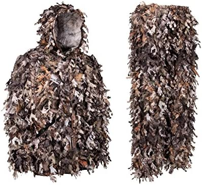 North Mountain Gear Ghillie Suit - Camo Hunting Suit - 3D Leafy Suit -  Camouflage Hunting Suit w/Hooded Camo Jacket & Pants - Full Front Zipper,