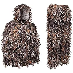 North Mountain Gear Ghillie Suit - Camo Hunting Suit - 3D Leafy Suit - Camouflage Hunting Suit w/Hooded Camo Jacket & Pants - Full Front Zipper, Zippered Pockets - Breathable, Quiet, Brown Large