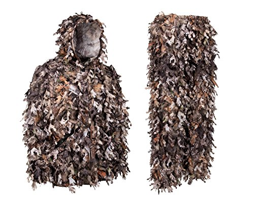 (North Mountain Gear Ghillie Suit - Camo Hunting Suit - 3D Leafy Suit - Camouflage Hunting Suit w/Hooded Camo Jacket & Pants - Full Front Zipper, Zippered Pockets - Breathable, Quiet, Brown Large)