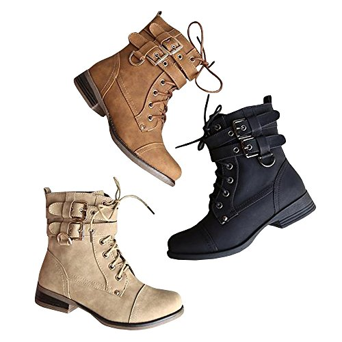 FISACE Womens Combat Lace up Ankle Booties Double Buckle Military Marten Boot