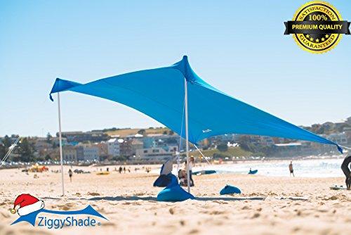 ZiggyShade – Beach Tent – Sun Shade – with Sandbag Anchors – UPF50+ (Sky Blue, Family)