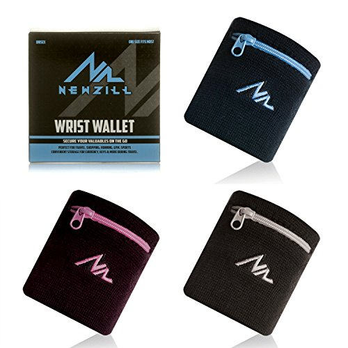 NEWZILL Sports Thick Solid Color Wristband with Zipper/Wrist Wallet (Black/Blue) (Zipper Band)