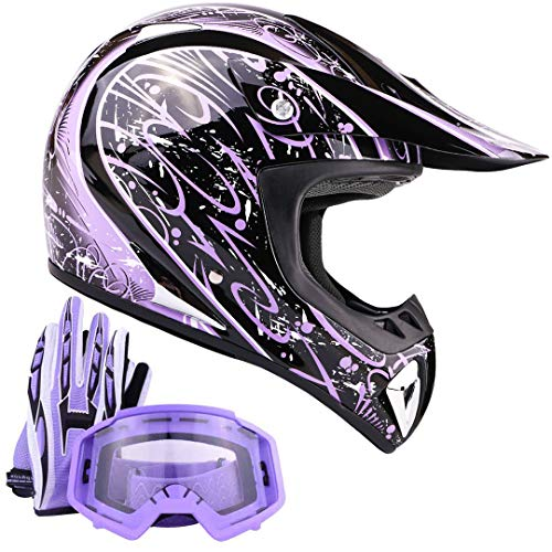 Typhoon ATV Helmet Goggles Gloves Gear Combo Purple Splatter (Large)