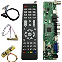 V56 Universal LCD TV Controller Driver Board PC/VGA/HDMI/USB Interface with 4 Lamp Inverter+30pin 2ch-8bit Lvds Cable+7 Keypad (option4)