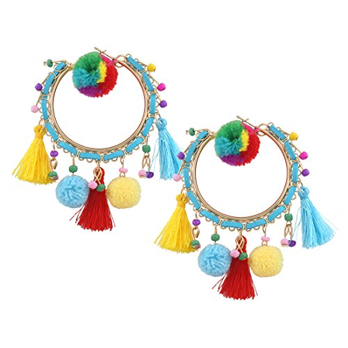 Homemade Baby Prince Costumes (Fashion Earrings for Women Girls,Elegant Bohemia Style Tassels Gold Plating Hoop Earrings Blue)