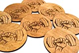 "4 Stained Weightlifter Coaster - Set of 3.5"" Wood"