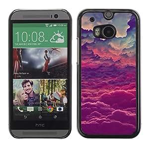 Cubierta de la caja de protección la piel dura para el HTC ONE M8 2014 - god purple inspirational clouds