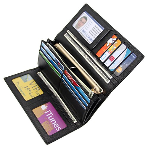 Women RFID Blocking Wallet Trifold Ladies Luxury Leather Clutch Travel Purse Black
