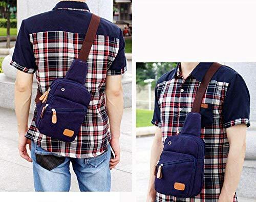 Chest Bag Home Borsa a Tracolla in Tela Casual da Uomo con Porta di Ricarica USB Zaino da Spalla per Il Tempo Libero di Grande capacità per Il Tempo Libero (Blu)