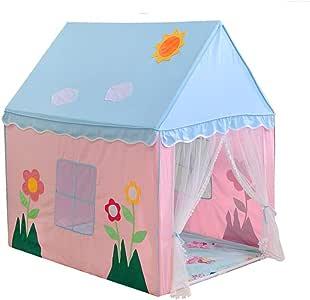 Kibten Flores de dibujos animados Decoración Rosa Azul Niñas Princesa Castillo Tienda de campaña Casa de juegos for niños Grande Tienda de ropa de algodón portátil Juguetes for bebés Juguete for niños: