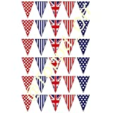 30 Union Jack flags, polka dots & stripes edible bunting on fondant icing cake decorations by Topped Off (FREE UK SHIPPING) by Topped Off