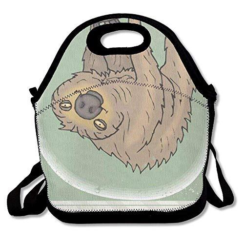 HAIGORO Modern Sloth Clip Art Free Clip Art Interest Insulated Lunch Box Tote Bag Shoulder Strap Bouble, Perfect Women, Men & Kids,Green nontoxic custom
