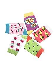 Feoya Kids Baby Girls Cartoon Fruit Rib Crew Socks Pack of 5