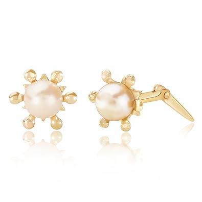 308b1caf7 9ct yellow gold cultured pearl sun Andralok stud earrings / Gift box:  Amazon.co.uk: Jewellery