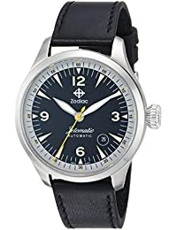 Mens Jetomatic Swiss Automatic Stainless Steel and Leather Casual Watch, Color:Black. Zodiac