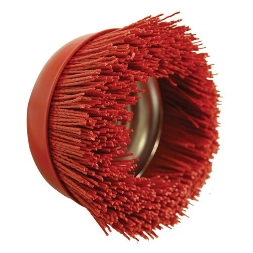 "AES Industries Red Nylon Filament Abrasive 6"" Cup Brush [Coarse Grit]"
