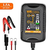 TeNizo Smart Trickle Battery Charger Maintainer, 6V&12V 1.5Amp Automatic Fully Charging for Car, Motorcycle, Automotive, Boat, Lawn Mower, Snowmobile, SUV, ATV - SLA AGM Gel Cell Lead Acid Batteries