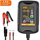 TeNizo Automatic Trickle Battery Charger Maintainer, 6V&12V 1.5Amp Fully Smart Charging for Car, Motorcycle, Boat, Lawn Mower, Snowmobile, SUV, ATV - SLA AGM Gel Cell Lead Acid Batteries