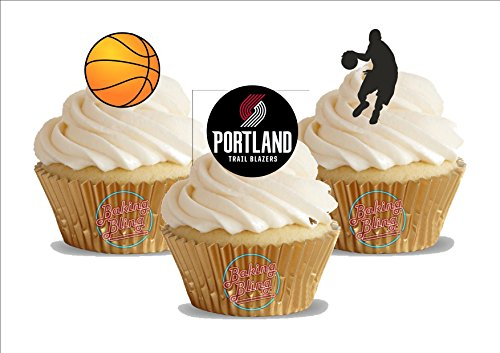 12 x Basketball Portland Trail Blazers Mix - Fun Novelty Birthday PREMIUM STAND UP Edible Wafer Card Cake Toppers Decoration -