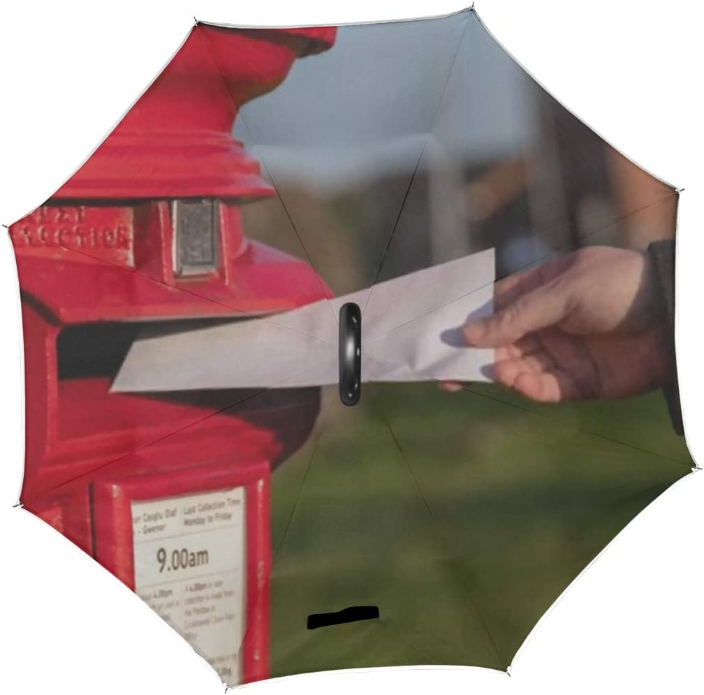 Double Layer Inverted Inverted Umbrella Is Light And Sturdy Classic Vintage Red Mailbox Posting Letters Reverse Umbrella And Windproof Umbrella Edge
