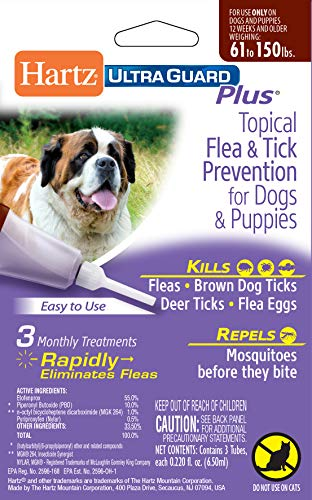 Hartz UltraGuard Plus Topical Flea & Tick Prevention for Dogs and Puppies - 61-150 lbs, 3 Monthly Treatments