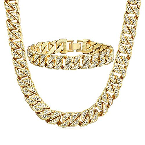 - Huaming 13mm Mens Iced Out Chain Necklace Bracelet Set Hip Hop Gold Plated CZ Miami Curb Cuban Link Chain 8&20inchs