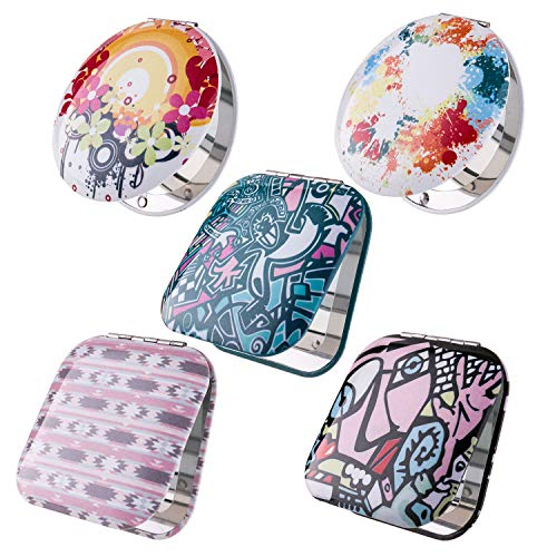 Mirror Compact Shaped Purse - BMC Womens 5 pc Mixed Design Alloy Metal Folding Compact Travel Pocket Beauty Makeup Mirrors - Set 4: Urban Art