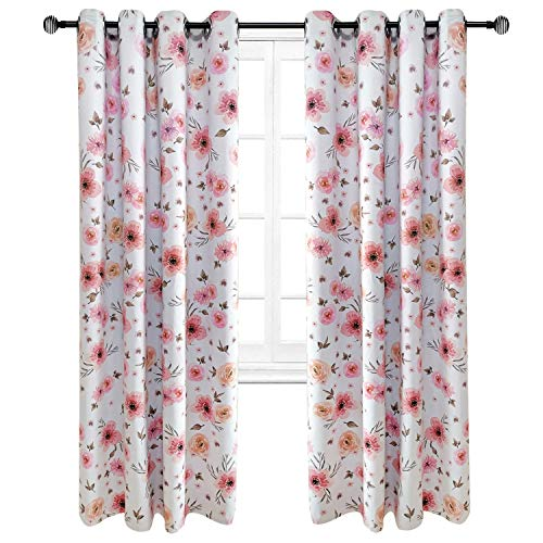 Riyidecor Blackout Floral Curtains Flowers Blush Pink Shabby Chic Country Rustic Watercolor Window Treatment for Living Room Bedroom Window Drapes Fabric (2 Panels 52 x 84 Inch) (Curtains Flower)