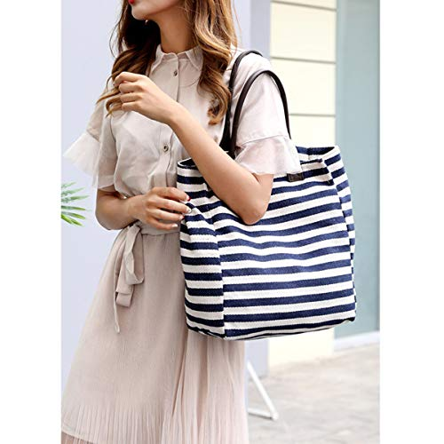 Blue Bag Pouch for Top Handbag Bag Totes Shoulder Shopper b115 Handle Canvas Defeng Women Bags Beach EwxIUqn6Hf