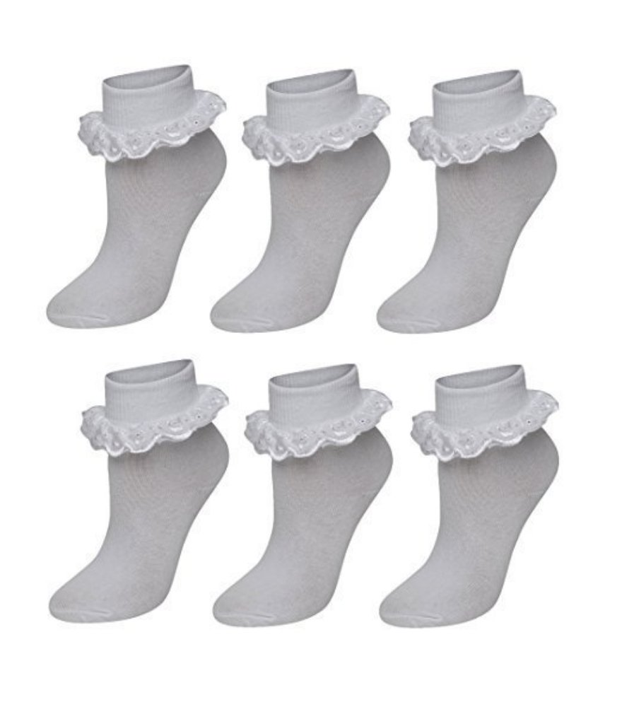 Blissonline Pack Of 6 Girls Lace Socks,Chic Frilly Bow White Black Cotton Ankle School Socks