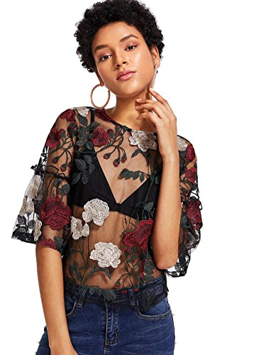 MakeMeChic Women's Embroidered Applique Sheer Mesh Blouse Top 12-Multicolor L