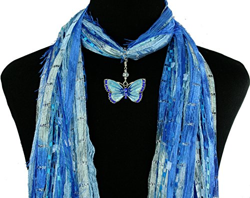Butterfly Jewelry Necklace Scarf ~ Blue and Silver Ribbons ~ Enamel and Crystals ~ Boho Fringe Art Scarf ~ Lightweight All Season Fibers~ Detachable Pendant Option