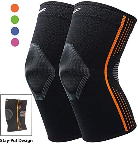 Knee Compression Sleeve for Arthritis Premium Knee Brace for Running Hiking Crossfit Cycling Squats Weightlifting Stay-Put Breathable - 4 Colors (Orange, Large 2-Pack)