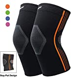 Premium Compression Knee Sleeve Plus Size Knee Brace Crossfit Stay-Put Breathable for Running Basketball Squats Weightlifting Arthritis and Meniscus Tear - 4 Colors (Orange, XL 2-Pack)
