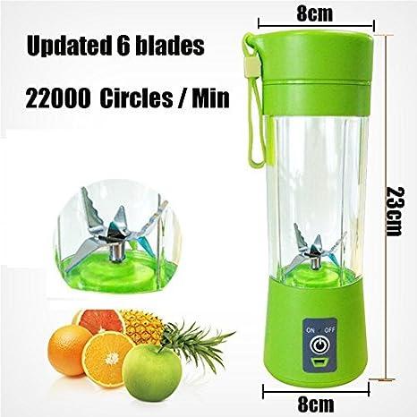 [última versión] M2 C Batidora personal, topesct Copa de policarbonato portátil/Mixer Para Fruta Eléctrico/Batidora USB, recargable, 380 ml, seis cuchillas ...