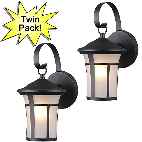 Hardware House 22-9692 Textured Black Outdoor Patio / Porch Wall Mount Exterior Lighting Lantern Fixtures with Frosted Glass - Twin (Powder Coat Exterior Fixtures)