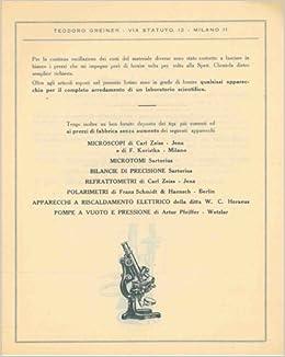 Fabbrica Nazionale di Apparecchi in vetro per chimica fisica ed uso industriale. Catalogo n. 2: Teodoro Greiner. Milano -: Amazon.com: Books