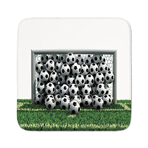 Cozy Seat Protector Pads Cushion Area Rug,Sports Decor,Goal Net Full of Soccer Balls on the Football Field Schoolyard Victory,Easy to Use on Any Surface