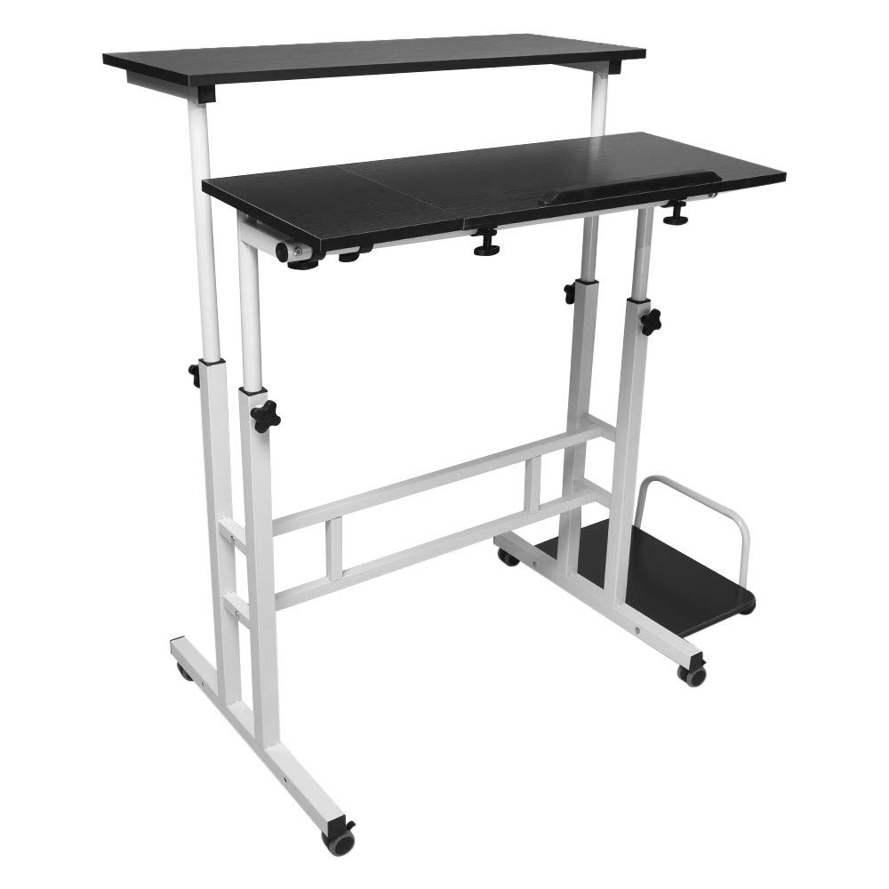 Desktop Computer Desk Task Household Office,Can Be Folded and Adjusted Angle,Adjustable Height,Locking Casters,3 Separate Tabletop(Ship from US!)